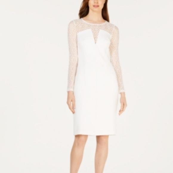 Calvin Klein Dresses & Skirts - Calvin Klein  Petite Mesh Illusion Dress White